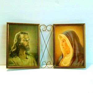 Vintage Mother Mary and Jesus Framed Pictures Dated 1941